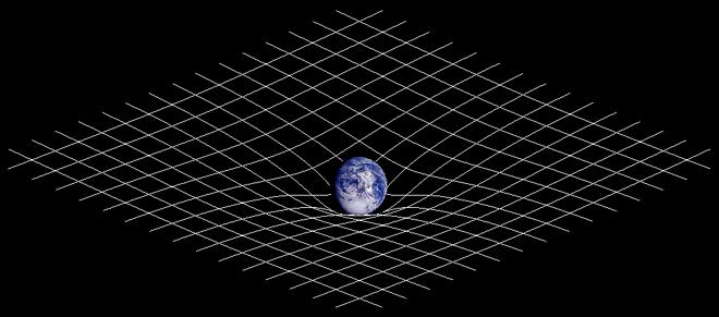 Zakrzywienie czasoprzestrzeni spowodowane przez Ziemię sprawia, że krążą wokół niej Księżyc i sztuczne satelity. (Źródło: Wikipedia)