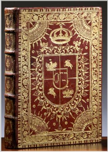 Superekslibris donacyjny Marii Kazimiery Sobieskiej W: BASSANI A, Viaggio a Roma ... Rzym, Barberini 1700.