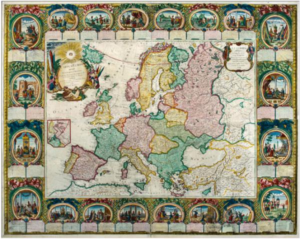 Mapa Europy Jeana Cloueta (1776).