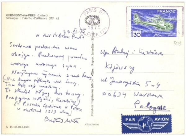 List Czesława Miłosza do Andrzeja Kijowskiego.