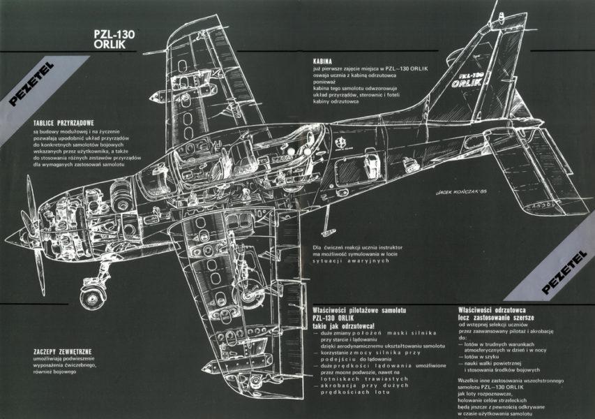 Rysunek przekrojowy samolotu PZL-130 Orlik z silnikiem tłokowym M-14. Rys. PZL-Okęcie