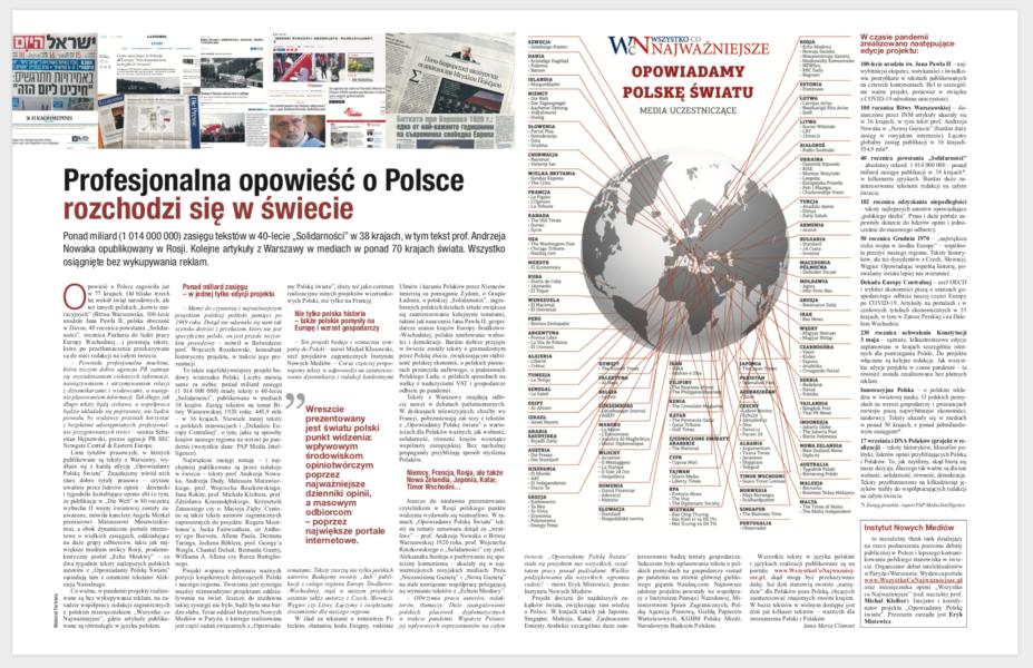 """""""PLUS MINUS Rzeczpospolitej"""": """"Profesjonalna opowieść o Polsce rozchodzi się w świecie"""""""